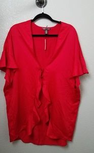 VS Victoria's Secret Red Satin Flutter Sleeve Robe